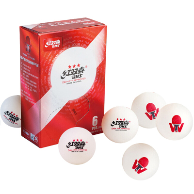 红双喜(DHS)三星乒乓球国际乒联巡回赛比赛用球3星三星球(国际比赛专用)赛顶系列WTD40白色一盒6只装