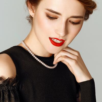 佰色傳情(BRIR) 優雅氣質6-7mm扁圓淡水珍珠項鏈