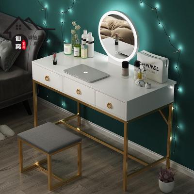 仙窩梳妝臺臥室小戶型化妝臺帶燈鏡子梳妝桌簡約現代化妝桌子