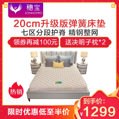 穗宝床垫20cm 七区分段护脊宝耐尔高碳精钢 整网弹簧床垫 卧室床垫 太子港