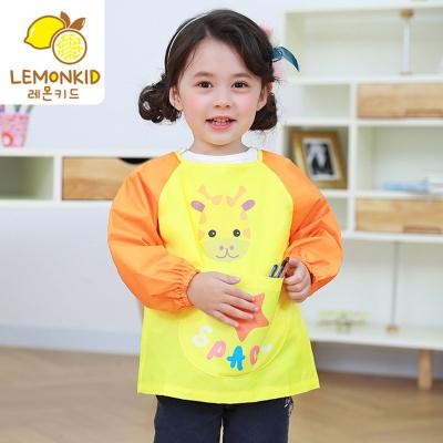 檸檬寶寶Lemonkid幼兒園畫畫罩衣 兒童新款卡通罩衣寶寶吃飯圍兜男童女童小孩長袖繪畫反穿衣畫畫衣可愛圍嘴防水圍裙