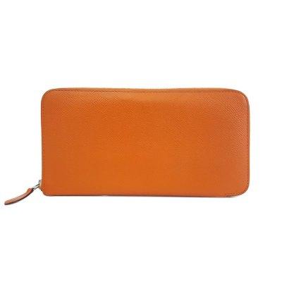 【正品二手95新】爱马仕(Hermès)Silk'In 女士 橘色 Epsom小牛皮长钱包 小牛皮 方框P刻印