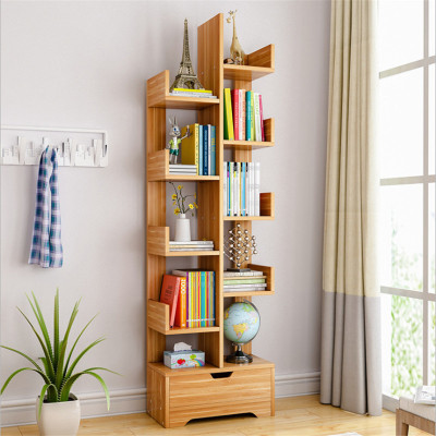 明思鑫德 簡約現代客廳家具 人造板書房書架交叉柜組合書柜置物架簡易書柜玩具收納置物架儲物柜創意書架收納儲物柜