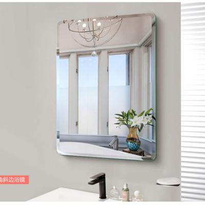 防爆無框斜邊免打孔浴室鏡子貼墻洗手間衛浴鏡衛生間壁掛化妝鏡弧威