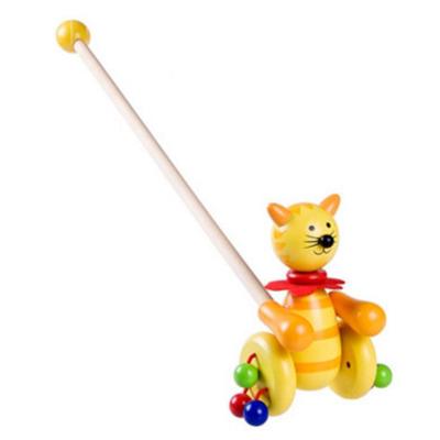 帅美熊木制动物小推车宝宝锻炼学步拖拉玩具木制学走路玩具