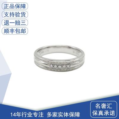 【正品二手95新】中國黃金 中國黃金18K白金鑲鉆簡約式戒指 戒圈13號 鑲嵌鉆石