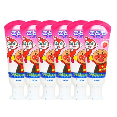 6件装|狮王(LION)面包超人酵素儿童护理牙膏草莓味 40g 杀菌防蛀美白 日本原装进口