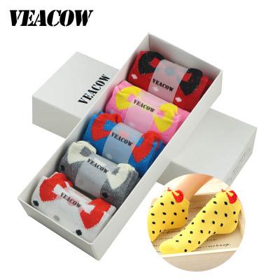 VEACOW 【5雙裝】禮盒裝韓版可愛糖果色蝴蝶結短襪隱形女襪船襪休閑襪