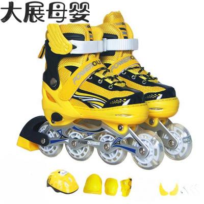 3-5-6-7-9-10-12歲兒童溜冰鞋全套旱冰滑冰鞋直排輪滑鞋閃光可 黑黃色標準套裝 前輪單閃M(適合33-38碼)