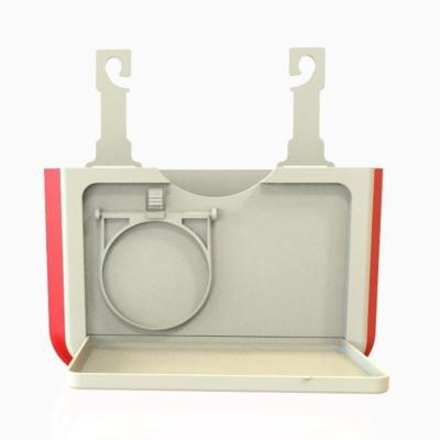 敬平車載垃圾桶折疊汽車內用創意掛式多功能懸掛車載收納盒車內置物桶 米紅色升級杯架款(送垃圾袋) 平