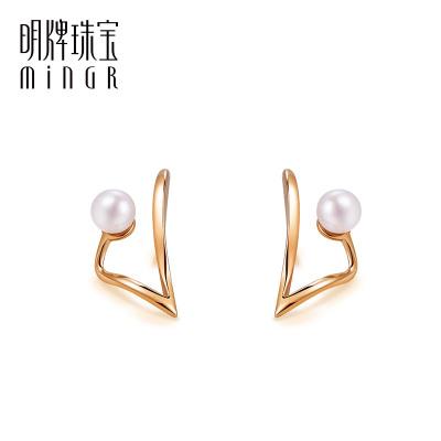 明牌珠寶18K金耳釘 彩金玫瑰金珍珠扭條幾何耳插耳飾女CSH0090定價