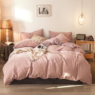 明超家紡四件套純棉全棉條紋40支床上用品4件套床單被套套件
