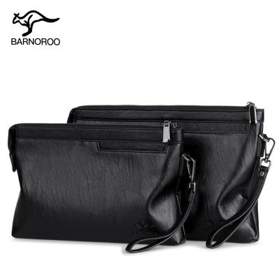 巴諾袋鼠(BARNOROO) 男士手拿包 2019新款男士手包男包錢包大容量手拿包信封包軟皮休閑夾包