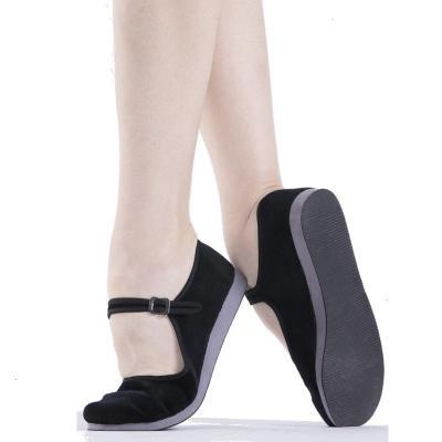 秧歌舞蹈鞋儿童民族民间舞鞋黑色绒跟鞋女鞋绒布鞋成人考级练功鞋 黑色丨胶州鞋【升级款】正常码 33