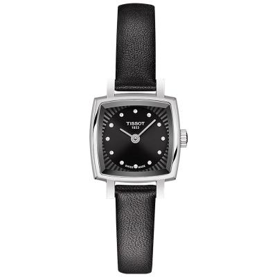 Tissot天梭官方正品新款樂愛方形鉆飾石英皮帶手表女表