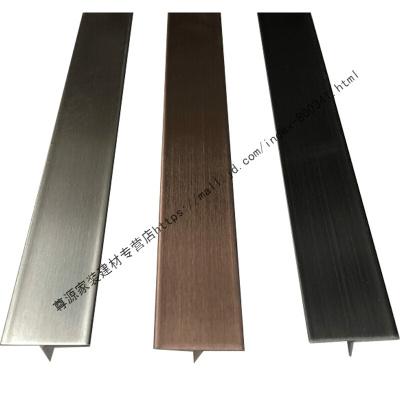 木地板收口条不锈钢T型收边条封边条地板压条装饰条收口扣条玫瑰金黑钛金线条22mm宽钛金镜面2.44米