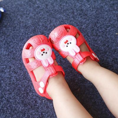 嬰兒塑料涼鞋 學步軟底塑膠包頭小童1-3歲女男寶寶膠涼鞋尿不濕