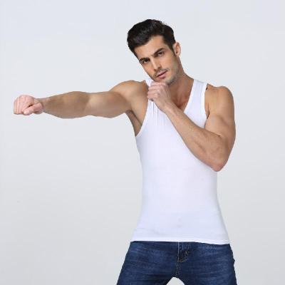 [棉]男士背心男純棉夏季潮運動健身打底修身透氣白色男汗衫 莎丞