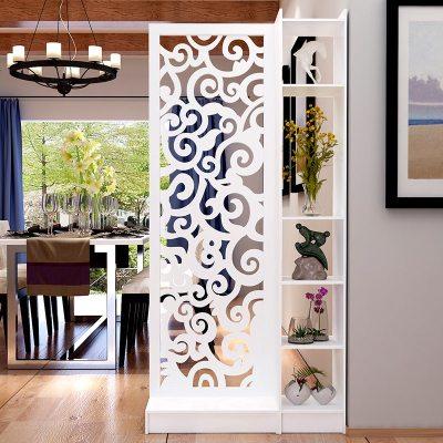 欧式屏风隔断雕花玄关柜镂空简约现代隔断柜客厅白色折屏双面厅