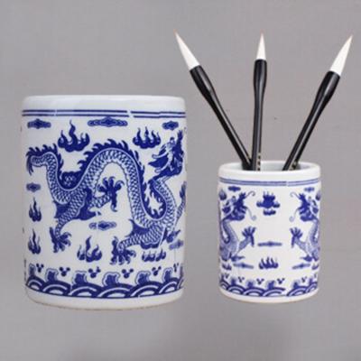 青花瓷 陶瓷筆筒 毛筆洗筆瓷缸書法國畫筆洗 雙龍戲珠筆筒