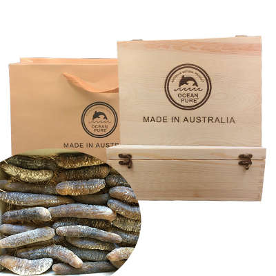 澳洲名品海参 OCEAN PURE 海之纯 金沙参 深海野生进口金沙海参 500克 20只左右 木礼盒包装 淡干海参
