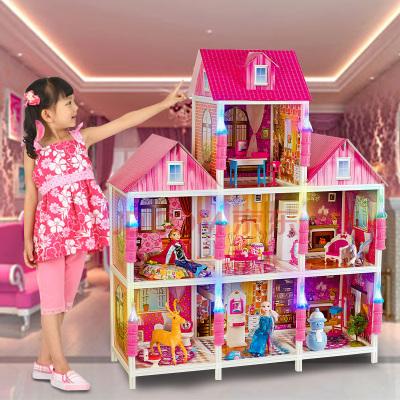 聰樂美芭比娃娃套裝大禮盒女孩公主別墅玩具屋冰雪奇緣洋娃娃超大城堡夢想豪宅兒童生日禮物兩層四間66149