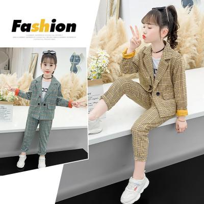 MinanSer童裝女童套裝春秋兒童休閑西裝2020新款韓版洋氣格子西服兩件套