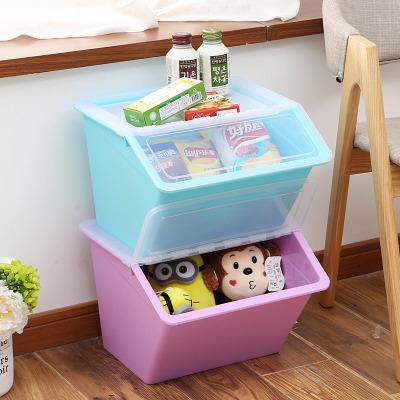 大號手提斜口收納箱塑料有蓋衣服兒童玩具零食品整理箱廚房儲物箱