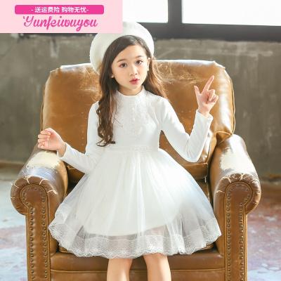 女童洋气连衣裙秋冬装儿童加绒加厚白色纱裙宝宝保暖公主礼服裙子