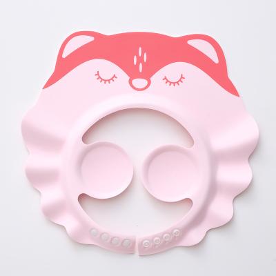 寶寶洗頭神器護耳洗頭帽可調節嬰兒童小孩幼兒防水洗澡洗發帽浴帽 粉狐貍(護耳兒) 可調節