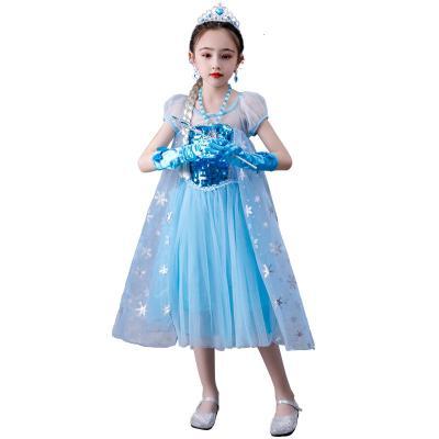 【精品好貨】公主女童連衣裙愛沙兒童夏裝新款加冕禮服艾沙公主裙 邁詩蒙