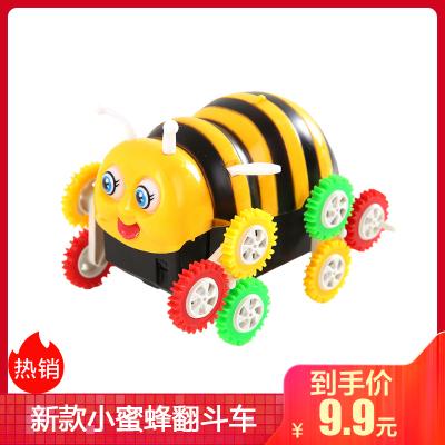 新款小蜜蜂翻斗車新款毛毛蟲自動翻轉特技車會翻滾兒童電動寶寶玩具車