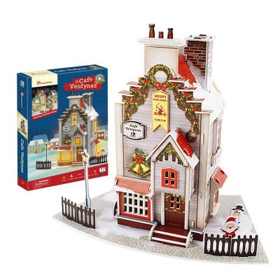 DIE-CAST樂立方(CubicFun)3D立體拼圖燈光圣誕老人小屋 圣誕樹麋鹿車小屋紙模型