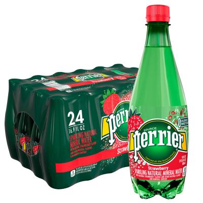 Perrier巴黎水草莓味气泡矿泉水塑料瓶 500mlx24瓶/箱