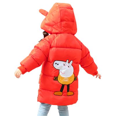 新款童裝男童女童小豬羽絨服中長款連帽寶寶加厚保暖羽絲絨服兒童外套