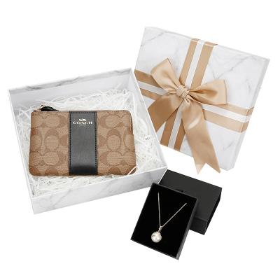 COACH/蔻驰19年秋冬新款女士皮质短款手拿包零钱包优雅珍珠项链套组礼盒送女友送妈妈