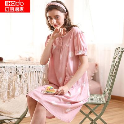 紅豆居家(Hodohome)春夏新款女士純棉甜美公主風可外穿家居睡裙
