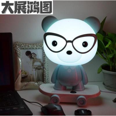創意可愛卡通兒童房護眼臺燈臥室床頭溫馨嬰兒寶寶喂奶LED小夜燈 嘟嘟熊藍色