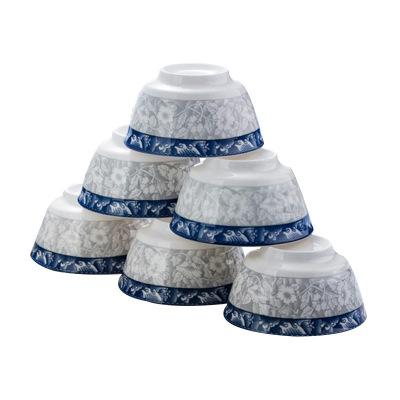 瓷物语6只装米饭碗加厚防烫日式餐具陶瓷釉下彩4.5英寸