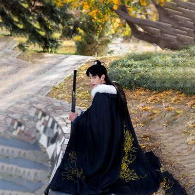 漢服女裝襦裙仙女裙斜塘衣莊【鐘山空靈】漢服斗篷秋冬毛領保暖外套日常刺繡披風