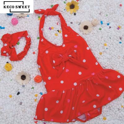 keco sweet 兒童泳衣女寶寶溫泉中小童女孩連體波點愛心公主泳裝嬰幼兒送帶