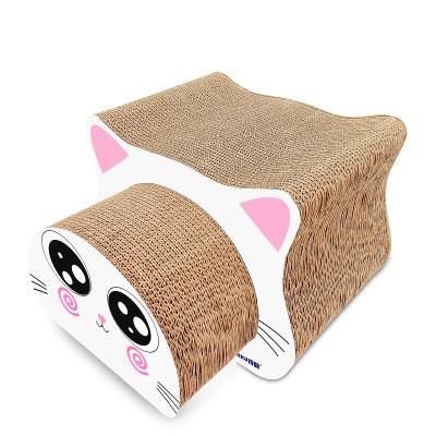 得酷 大眼貓頭形貓抓板(兩件套) 動物形貓抓板 瓦楞紙貓抓板 貓磨爪玩具 貓咪寵物用品 多尺寸組合