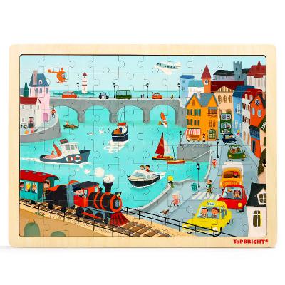 特寶兒(topbright)城市交通拼圖100片拼圖玩具寶寶木制50-100塊拼圖男孩女孩兒童玩具3歲以上 120391