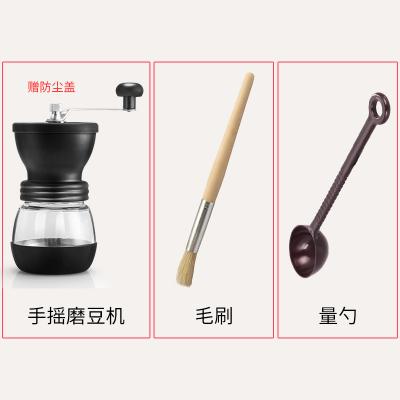 手搖磨豆機古達 家用咖啡豆研磨機 小型手動咖啡機磨粉機可水罐水洗磨豆機(灰色)