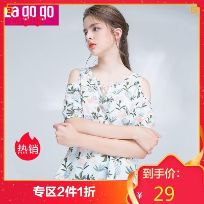 Lagogo夏季印花短袖休闲T恤 露肩系带雪纺拼接圆领女上衣