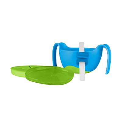 澳洲b.box儿童bbox三合一吸管碗宝宝零食碗 喝汤喝粥辅食餐具碗 蓝绿色