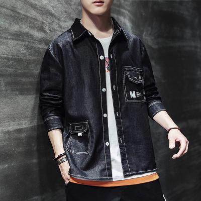 日系復古字母印花翻領工裝夾克男 春季青年學生寬松潮流翻領外套
