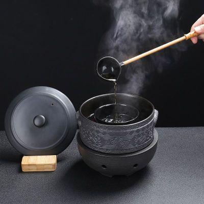 陶瓷煮茶壺帶蓋黑白茶普洱燒茶爐黃金蛋家用分茶器電陶爐復古茶具煮茶器 十一黑色古紋5件套+黑陶電陶爐