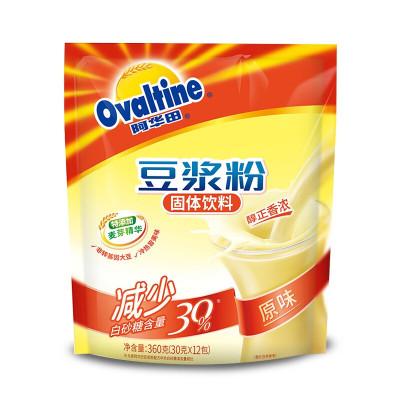 阿华田(Ovaltine)原味少糖30%豆浆风味营养早餐豆浆粉非转基因大豆随身包360g(30g*12包)