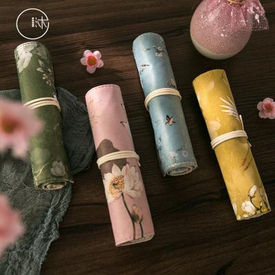 沐染中国风古风笔袋 宫廷风故宫花朵仙鹤创意铅笔袋卷笔帘文具盒